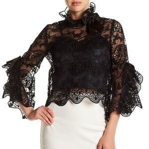 Gracia Bell Sleeve Crochet Lace Mesh Blouse Black